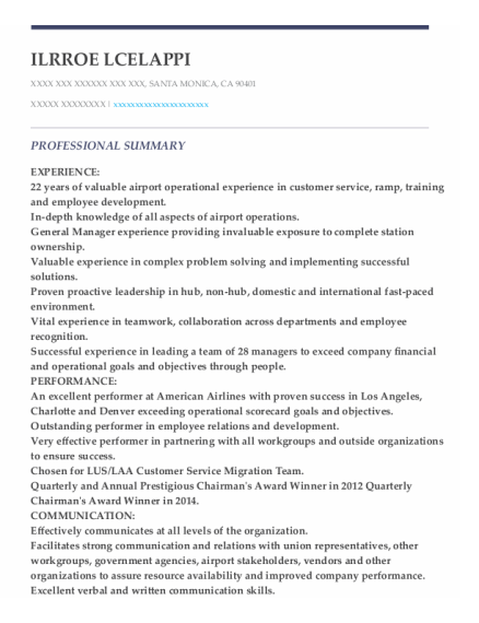 Station Manager resume example California