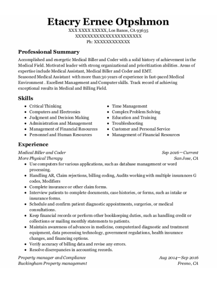 anesthesia business solutions medical biller and coder resume sample