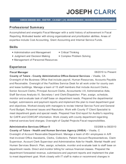 Fiscal Manager resume example California