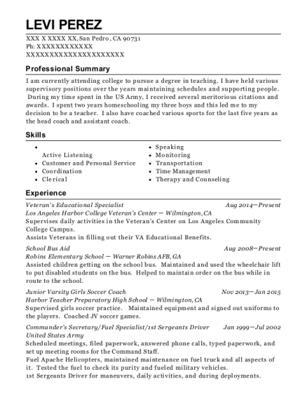 Veterans Educational Specialist resume example California
