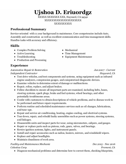 Maintenance Engineer resume sample California
