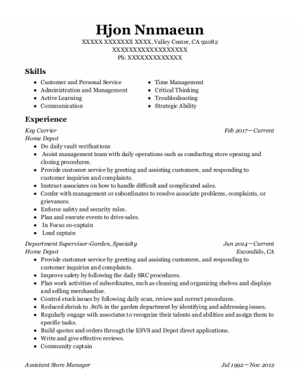 Key Carrier resume format California