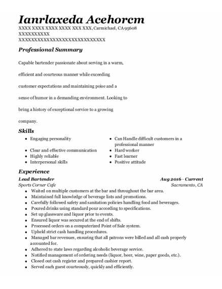 Lead Bartender resume sample California