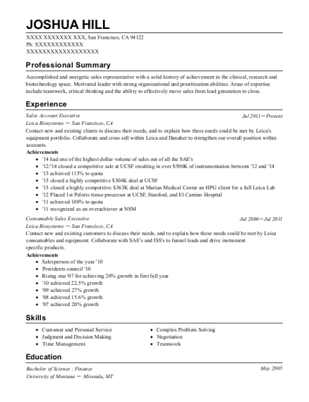 Sales Account Executive resume format California