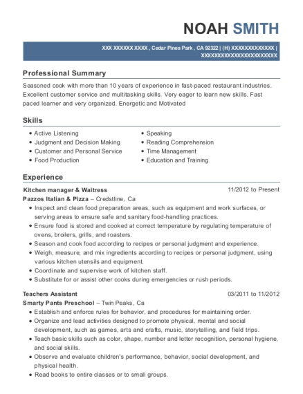 Kitchen manager & Waitress resume template California