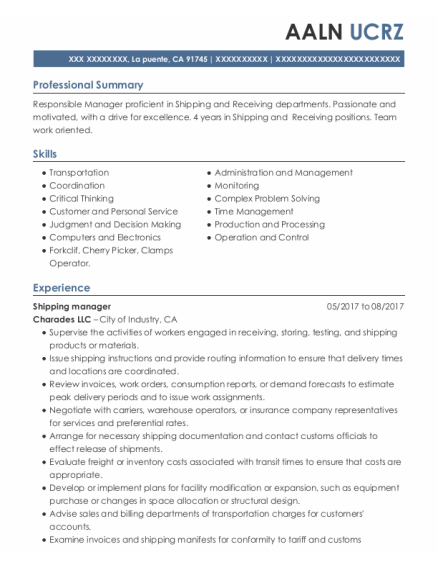 Shipping Manager resume example California