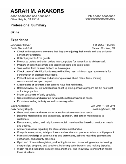 Dining Room Manager resume format California