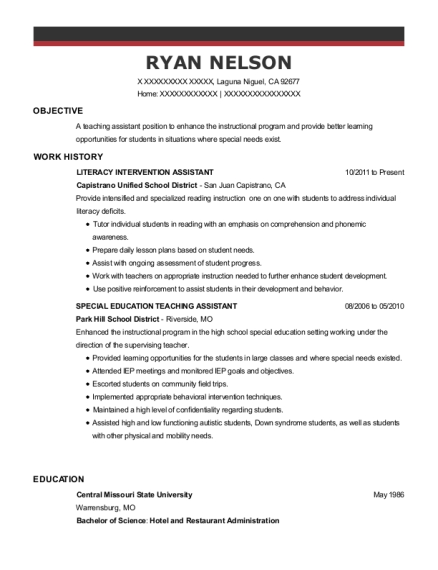 LITERACY INTERVENTION ASSISTANT resume example California