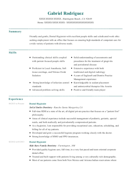 Dental Hygienist resume format California