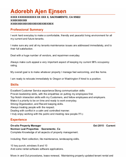 Distribution Manager resume template California