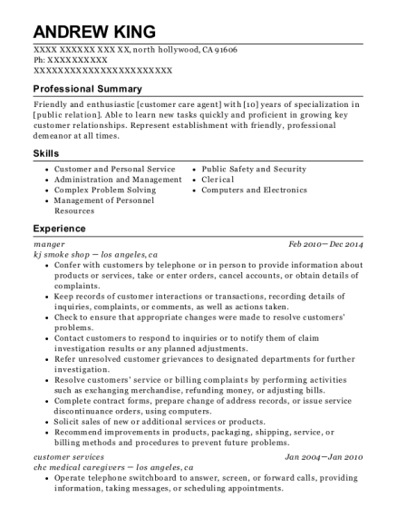 manger resume example California