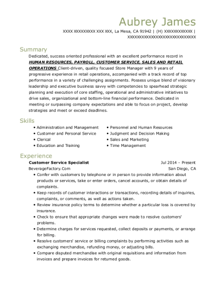 Customer Service Specialist resume format California