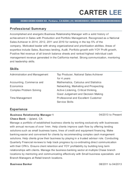Business Relationship Manager 1 resume sample California