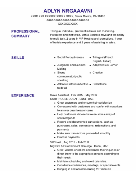 Sales Assistant resume format California