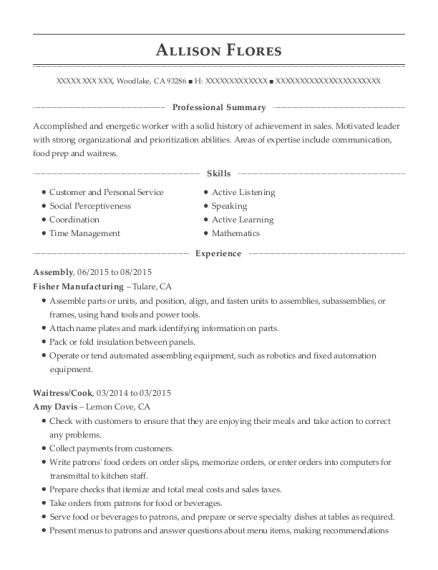 Assembly resume example California