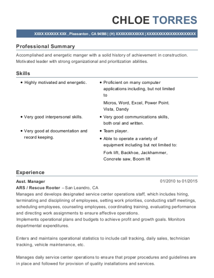 Asst Manager resume example California