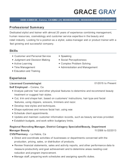 Liscensed Cosmetologist resume template California