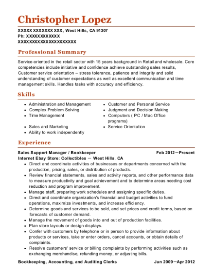 Sales Support Manager resume format California