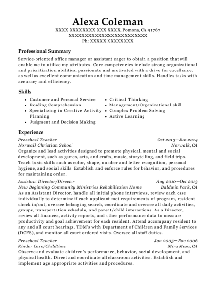 Preschool Teacher resume example California