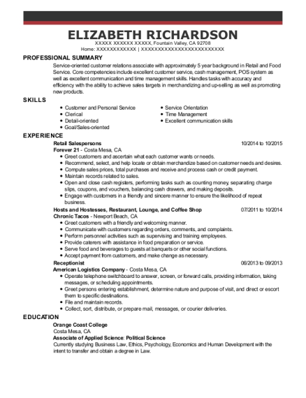 Retail Salespersons resume template California