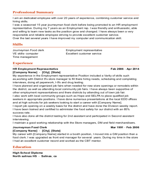 HR Employment Representative resume sample California