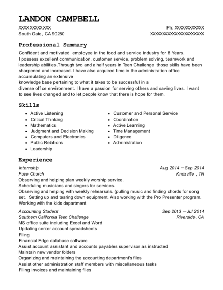 Internship resume example California