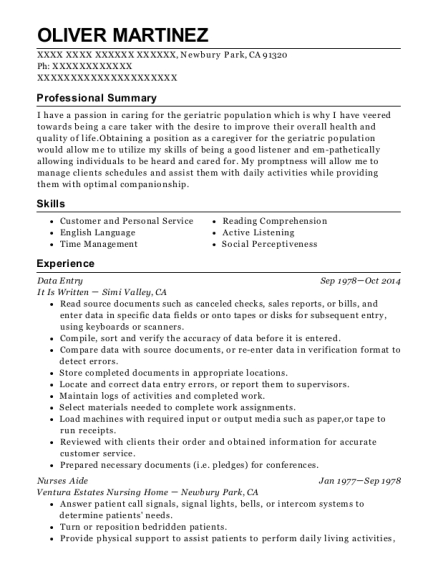 Data Entry resume template California