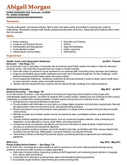 Health Coach and Independent Distributor resume sample California