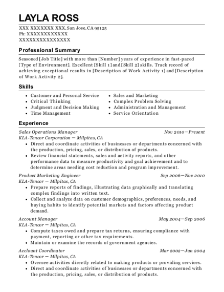 Sales Operations Manager resume sample California