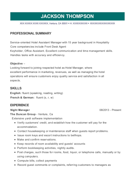 Night Manager resume example California