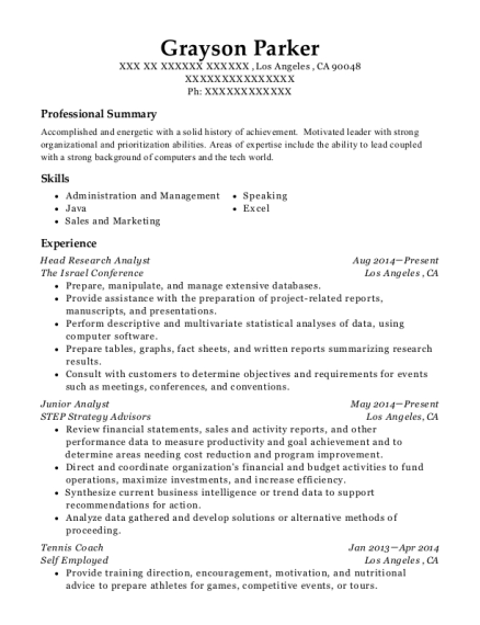 United Healthcare Research Analyst Resume Sample - Deltona