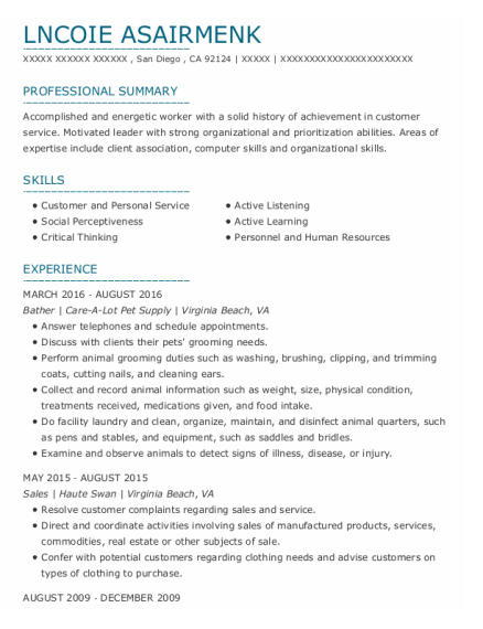 Bather resume template California