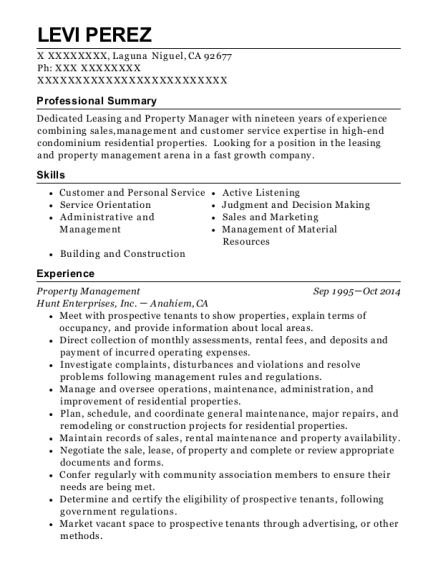Property Management resume example California