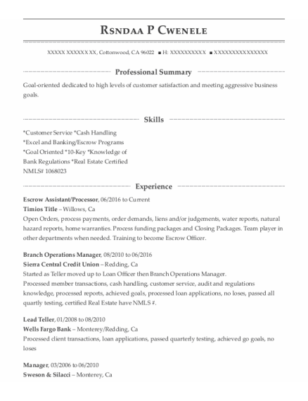 Escrow Assistant resume sample California
