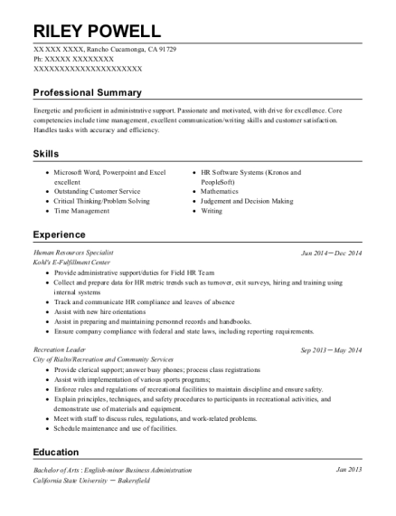 Human Resources Specialist resume template California
