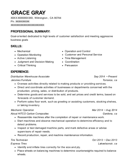 Distribution Warehouse Associate resume example California