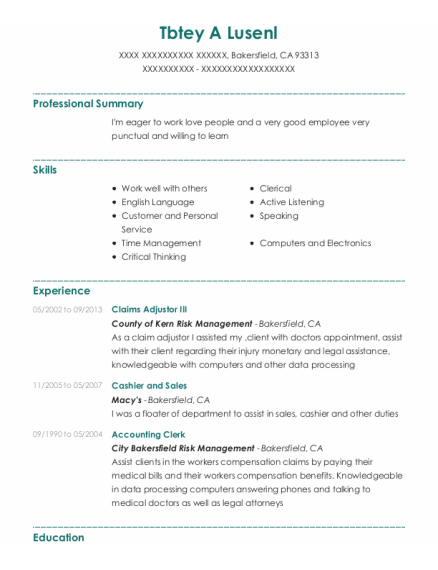 Cashier And Sales resume template California