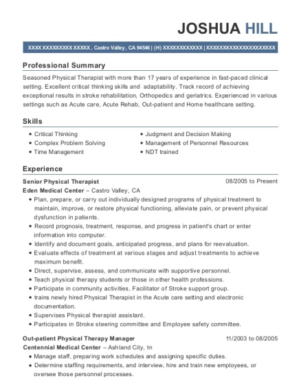 Senior Physical Therapist resume example California