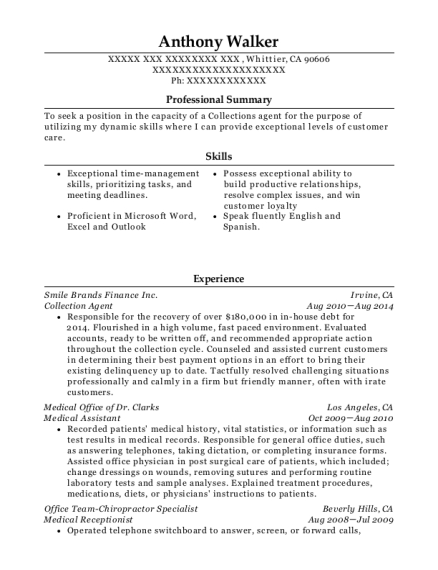 Collection Agent resume sample California