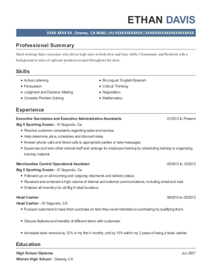 Executive Secretaries and Executive Administrative Assistants resume template California
