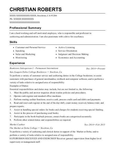 Bookstore Salesperson I Permanent Intermittent resume format California