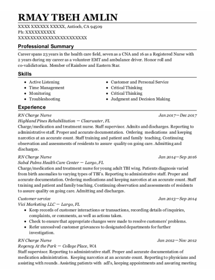 Rn Charge Nurse resume template California