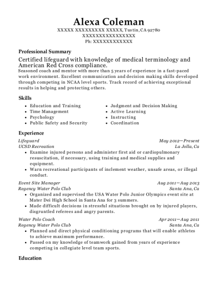 Lifeguard resume sample California