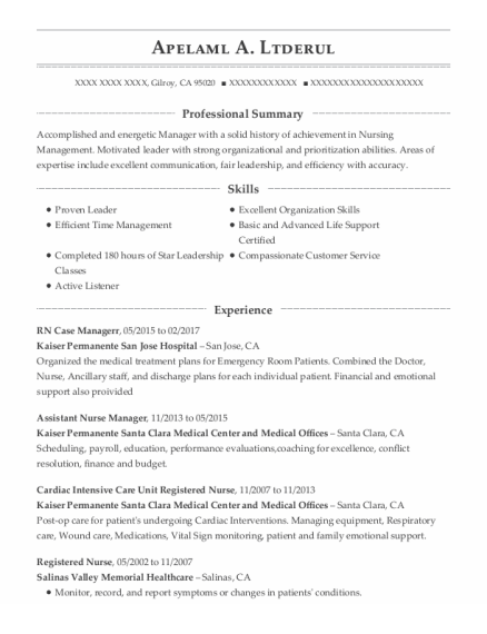 Assistant Nurse Manager resume format California