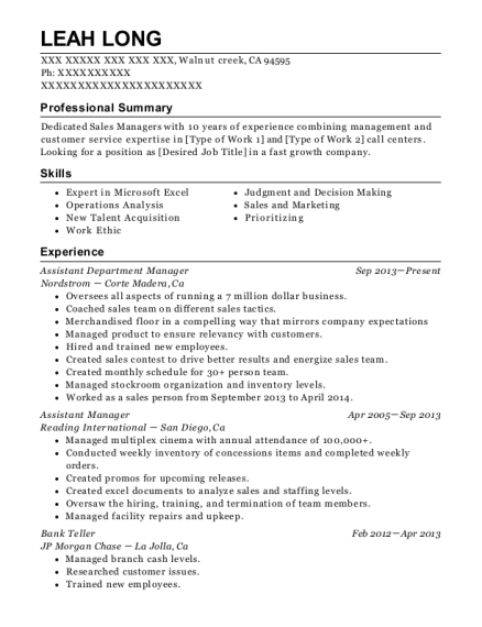 Assistant Department Manager resume example California