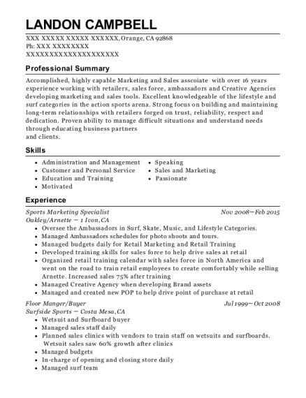 Sports Marketing Specialist resume format California