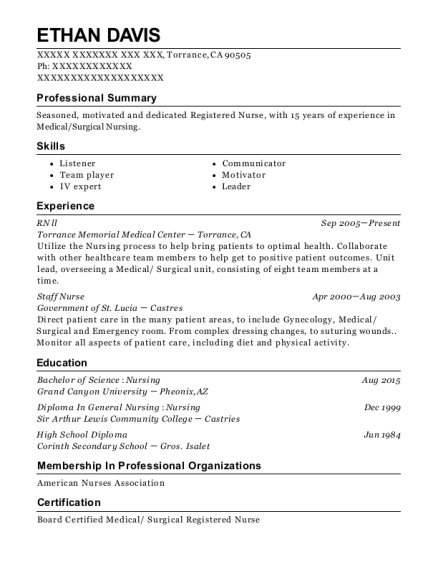 RN ll resume format California
