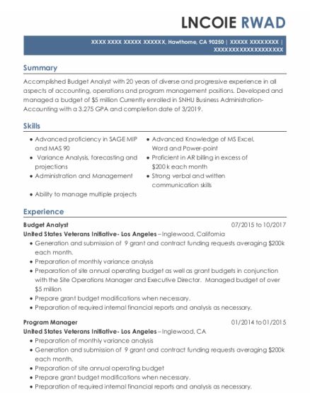 Budget Analyst resume example California