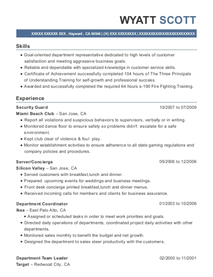 Security Guard resume sample California