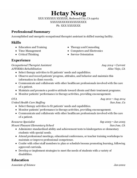 Occupational Therapist Assistant resume example California